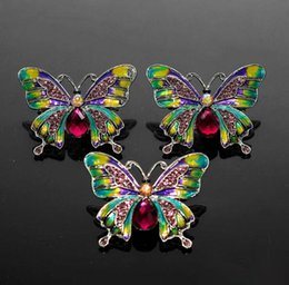 Bohemian style clothes for women online shopping - 2019 New Style Enamel Crystal Rhinestone Dainty Multicolor Crystal Butterfly Clothes Accessory Pins Brooches for Women