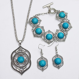 Wholesale wholesale earring bracelet necklace turquoise sets big green charm necklace jewelry sets