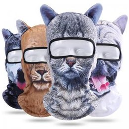 Wholesale Winter Outdoor Animal Ears Balaclava D Print Cat Dog Bicycle Cycling Ski full Face Mask Neck Cover cap headgear AAA1747