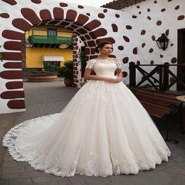 Short Plus Size Camo Wedding Dresses Australia - Cheap Princess A Line Wedding Dresses Off-shoulder Short Sleeve Sweep Train Plus Size Bridal wedding dress Vestidos De Novia Bridal Gowns