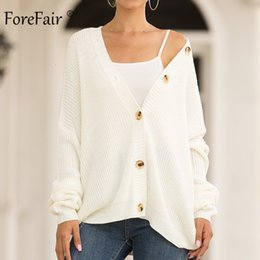 Sólido Brasão malha Cardigan Forefair com botões Casual 2019 Winter Open Individual Rosa Breasted Oversize Branco Knit Sweater WomenMX190927