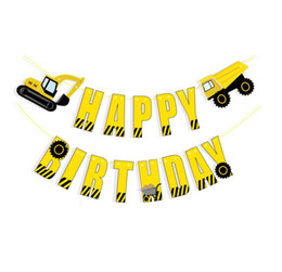 boys birthday party decorations Australia - Excavator engineering car birthday letter pull flag boy theme birthday party decoration bunting