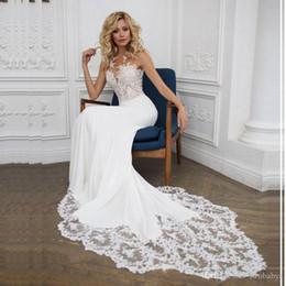 $enCountryForm.capitalKeyWord NZ - Boho Wedding dress O-Neck Appliques Lace Mermaid Wedding Gown with Small Train White Ivory Beach Bride Dress Free Shipping