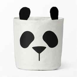 baskets for clothes storage UK - New storage baskets for kids room canvas fabric toys storage buckets bins children laundry organizer clothes panda pattern nursery decor