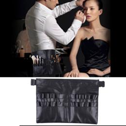 Professional Makeup Artist Cosmetic Bag Australia - Hot Selling Black Leather Case Professional Cosmetic Makeup Brush Bag Artist Strap Holder Makeup Case