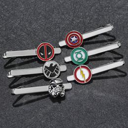 $enCountryForm.capitalKeyWord Australia - Movie Deedpool Superhero Star Trek Batman God shield Bureau agent Tie Clip Enamel Cosplay Tie Pins Men's Shirt Jewelry