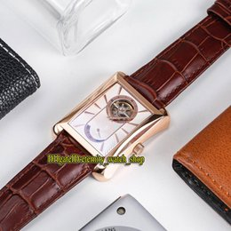 Discount tie cases - Luxury Brand New BLACK -TIE G0A34127 White Tourbillon Dial Mechanical hand-winding Mens Watch Rose Gold Case Leather Str