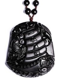 $enCountryForm.capitalKeyWord Australia - Genuine Natural Obsidian Black Carved Fish Boat Soft Lucky Blessing Pendant Necklace Carved Pendants Woman Men Jewelry