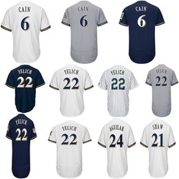 China Milwaukee 22 Christian Yelich 6 Lorenzo Cain 71 Josh Hader 24 Jesus Aguilar 21 Travis Shaw Mens Baseball Jerseys supplier andrew shaw jersey suppliers