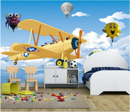 kids clouds wall stickers Australia - Custom 3d photo mural wall stickers Blue sky and white clouds airplane hot air balloon cartoon children background wall paper for kids room