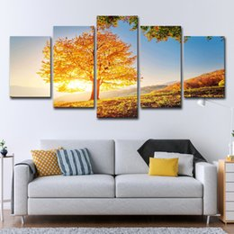 Chinese  Canvas Painting Wall Art Home Decor 5 Pieces Golden Tree For Living Room Modern HD Printed Sunset Landscape Pictures manufacturers