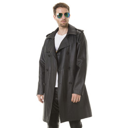 $enCountryForm.capitalKeyWord Australia - Men's Spring thin Long trench coat Adjustable Waist good quality PU Leather handsome man England Style with Double Breasted
