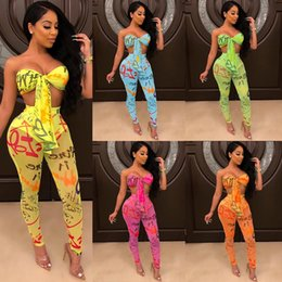 sexy blue tube UK - Summer Women Two Piece Outfits Sexy 2 Piece Pants Set Letter Print Strapless Tube Bandage Top Sheer Slim Long Pant Suits Pink Orange Green