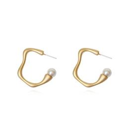 Copper CirCle hoop earrings online shopping - Retro Circle Geometric Pearl Earrings for Women Girls Wave Round Hoop Earring Dangle S925 Silver Needle Vintage Jewelry DHL