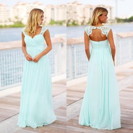 Cheap Vintage Mint Green Bridesmaid Dresses Cheap Country Long Floor Length  Beach Backless Pregnant Maid oF Honor Dress For Maternity 3984ba20f255