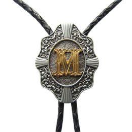 Western Tie Clips Bolo Tie For Men Original Letter M Bolo Tie Cosplay Costume Leather Necklace BOLOTIE-WT078M
