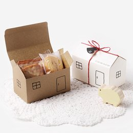 $enCountryForm.capitalKeyWord Australia - House Paper Gift Boxes 20sets White Kraft Party Favor Box Gift Package Candy Box Wed Box Bag Set String Gift Tag Included T190709