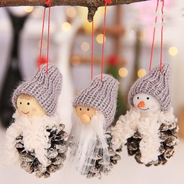 xmas tree hanging santa claus decorations NZ - New Santa Claus Christmas Hanging Ornaments Pine Cone Xmas Doll Gift 3Pcs Sets Tree Pendant Christmas Decorations For Home