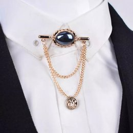 HigH quality broocHes online shopping - High quality Fashion Crystal gem men brooch with tassel chain shirt tassels Men Suit Lapel Pin accessories shawl collar