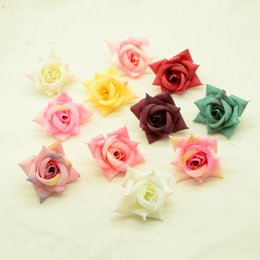 orange flower brooch UK - 5pcs silk roses flowers new Year christmas decoration for home wedding party bridal brooch diy a cap gifts box Artificial flower