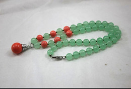 pearl green NZ - necklace newly design wholesale retail 8mm light green jade mixed red coral necklace +14 mm 18kgp red coral pearl pendant