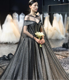 $enCountryForm.capitalKeyWord Australia - Modern Black A-Line Gothic Wedding Dresses Off the Shoulder Sparkly Tulle Women Non White Bridal Gowns With Cape Luxury Train Custom Made
