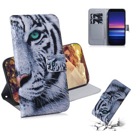 filp wallet case Australia - Wallet Case For Sony Xperia 5 Filp Cover Coloured pattern Wolf tiger lion Owl Dog With Card Slot For Sony Xperia 20