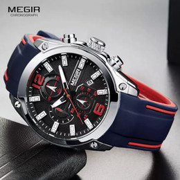 hand watch for men sports Australia - Megir Men's Chronograph Analog Quartz Watch with Date, Luminous Hands, Waterproof Silicone Rubber Strap Wristswatch for Man