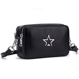 Black Mobile Packaging UK - Charm2019 Doubles Women's Bag Zipper Oblique Satchel Genuine Leather Woman Double-deck Hand Mobile Phone Small Change Package