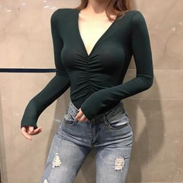 a2104fc40 2019 spring new deep V-neck vest sexy solid color long-sleeved temperament  self-cultivation bottoming shirt T-shirt top