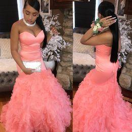 $enCountryForm.capitalKeyWord Australia - Blush Dresses Evening Wear Mermaid Sweetheart Satin Ruffles Formal Dress Lace Up Long Prom Gowns DP0279