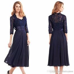 $enCountryForm.capitalKeyWord Australia - Navy Blue Tea Length Mother Of The Bride Dresses with Jacket 2018 3 4r Sleeve Chiffon Mother Formal Evening Dress Long prom dresses