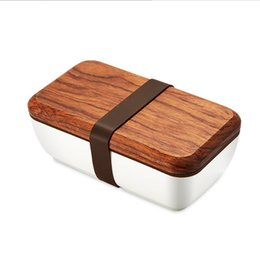 green box containers Australia - ONEUP Lunch Box Japanese Wood Bento Box Ceramic Bowl BPA Free Portable Food Container With Cutlery Students Picnic School C18112301