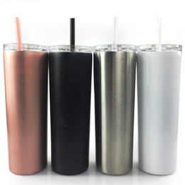 $enCountryForm.capitalKeyWord Australia - 20oz Skinny cup 304 stainless steel tumblers with drinking straws vacuum insulation cup straight car sports mug Wine tumblers A04