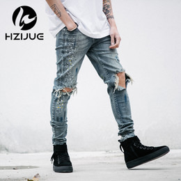 mens clothing rock Australia - HZIJUE mens designer clothes denim jumpsuit jean pants korean rock splash-ink stretch moto distressed ripped skinny jeans men
