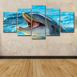 Oil painting dOlphins online shopping - HD Printed Piece Canvas Art Animal Poster Dolphin Playing Painting Wall Pictures for Living Room Modern