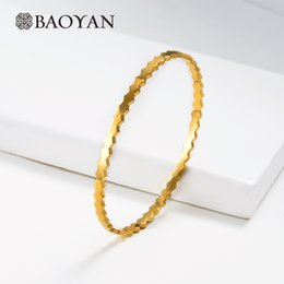 ladies bangle simple Australia - Baoyan Wholesale Stainless Steel Bangle Bracelets Simple Wave Shape Women Ladies Bangles Gold Silver Hand Cuff Bangles For Women