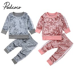 girls sportswear UK - Baby Kid Girls Clothes Set Autumn Winter Velvet Long Sleeve Top Hoodie+pant Children Clothes Girl Outfits Sportswear