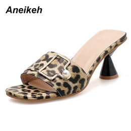 canvas slippers 2019 - Aneikeh 2019 Flock Slides Leopard Summer Transparent Slippers Shoes Casual Sexy Thin Heel Party Slip-On Pointed Toe Size