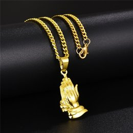 hands pendants Australia - Fashion Jewelry Men Charm Praying Hands Pendant Necklace Hip Hop Jewelry 18k Gold Plated 60cm Link Chains Trendy Punk Necklaces For Men Gift