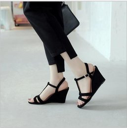 $enCountryForm.capitalKeyWord Australia - Fashionable new round-headed sloping sandals with buckle, simple leather, Euro-American style and leisure style for ladies