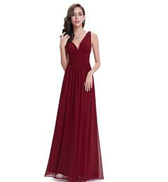 $enCountryForm.capitalKeyWord UK - Chiffon Bridesmaid Dresses Cheap Double V Burgundy Elegant Long Formal Wedding Bridesmaid Dresses for 2019 Vestido Dresses