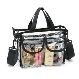 wholesale clear pvc cosmetic bag Canada - Clear pvc cosmetic bags with removable and adjustable shoulder strap, durable makeup bag with side button pocket clear purses