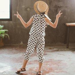 $enCountryForm.capitalKeyWord Australia - Kids Girls Tops with Pants Suit Dot Print Sleeveless Breathable Clothing Set for Summer YH-17