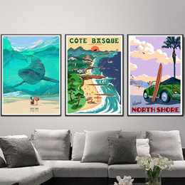wall stickers canvas NZ - Surfing at Coast Basque Hawaii Toulon Canvas Painting Vintage Wall Pictures Kraft Posters Coated Wall Stickers Home Decor Gift