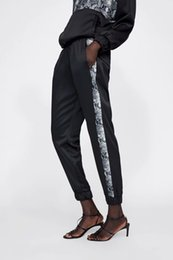 Tracksuit Women For Yoga UK - Autumn Winter New Snakeskin tracksuit Hoodies Black Side Stripe Jogging Causal Trousers Women Chic Tracksuits Chandal Mujer for Women