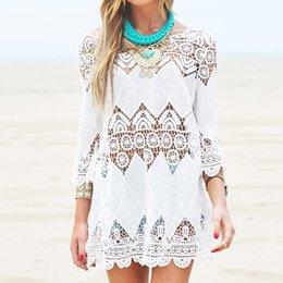 $enCountryForm.capitalKeyWord Australia - Swimsuit Lace Hollow Crochet Beach Bikini Cover Up 3 4 Sleeve Women Tops Swimwear Summer Beach Dress White Beach Shirt 2
