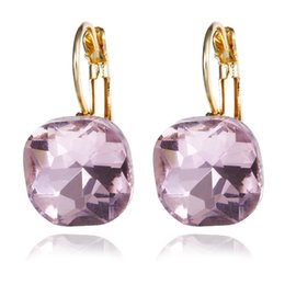 blue gold dangle earrings 2019 - Fashion Simple Austrian Blue Crystal Dangle Earrings Women Gold Color Square Shaped Shinning Drop Earrings Female Jewelr