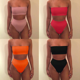 US STOCK Sexy Women Casual Strapless Solid Color Wrap Chest Tops High Waist Bottoms Two-Piece Suits Swimwear Set Bathing Beach Swimsuit