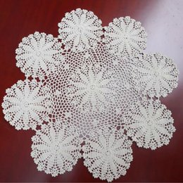 $enCountryForm.capitalKeyWord Australia - New DIY Crochet Table Place Mat Cloth Lace Cotton Placemat Cup Coaster Round Doily Pad Mug Pot Holder Kitchen Utensils Tableware
